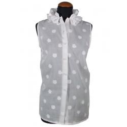 Camicia donna smanicata con rouche