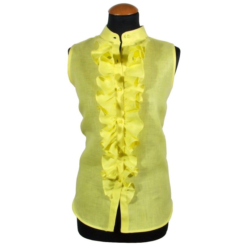 Frauen gelbes ärmelloses Shirt