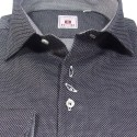 Dark gray fancy cotton men's shirt