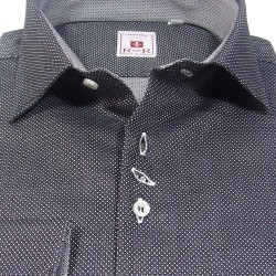 Dark gray fancy cotton men's shirt