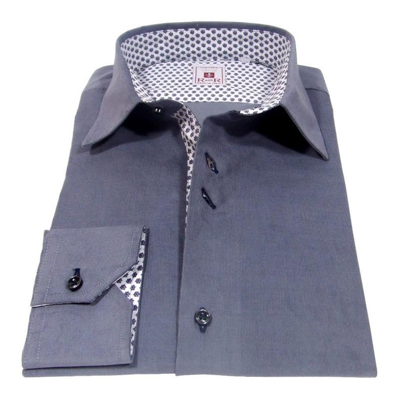 Gray velvet men's shirt