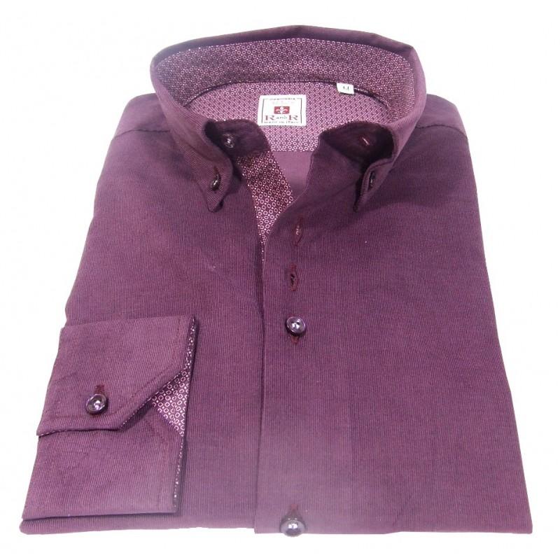 Amaranth velvet men's shirt