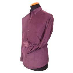 Camicia in velluto amaranto