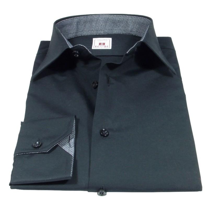 Camicia nera con colletto classico italiano