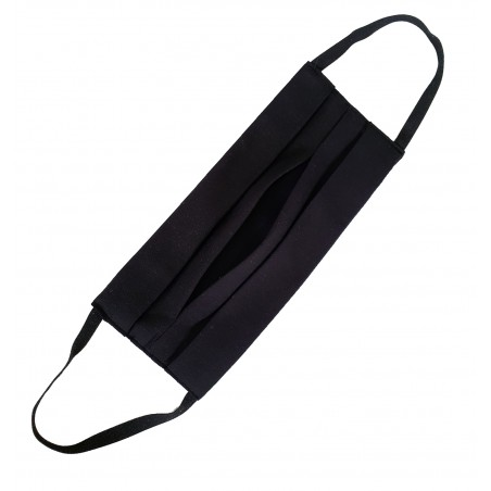 Black cotton mask with pocket for protective filter