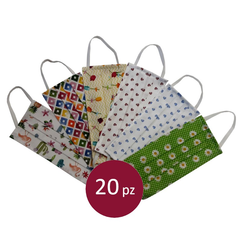20 Protective mask floral pattern in cotton